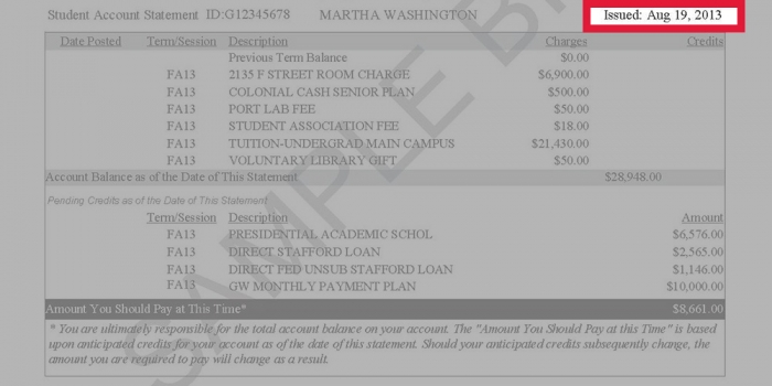 Image highlighting the invoice date on a GW tuition statement