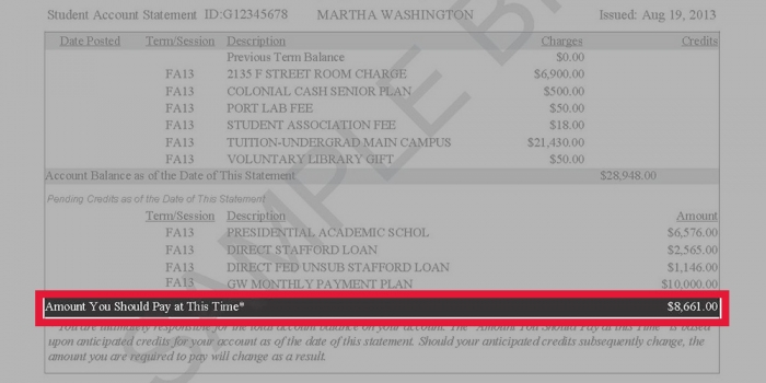 Image highlighting where the amount due is listed on a GW tuition statement
