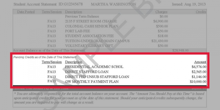 Image highlighting where pending credits are listed on a GW tuition statement