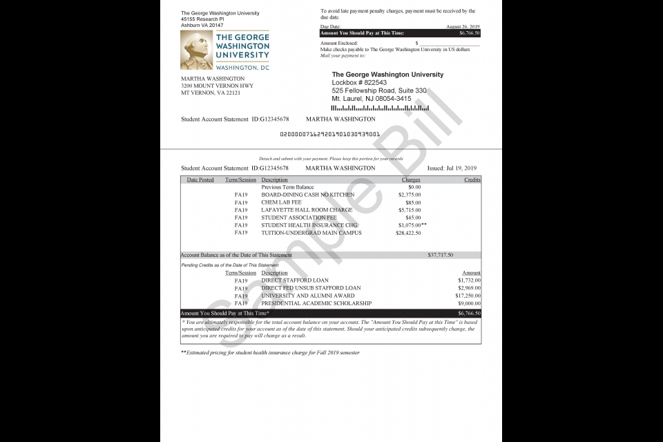 Sample of a GW tuition billing statement
