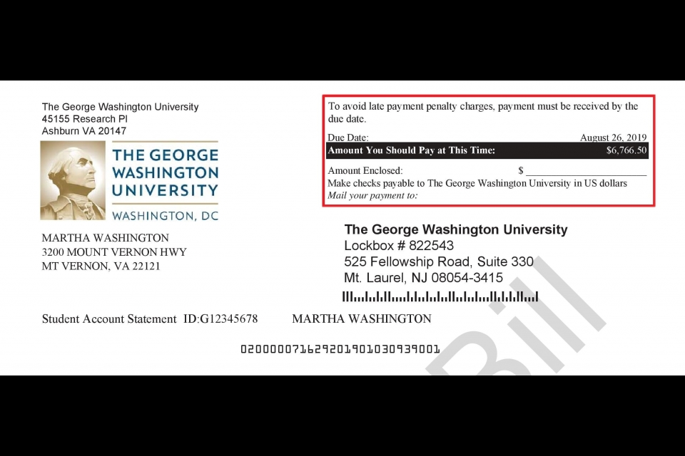 Image highlighting the payment due date on a GW tuition statement