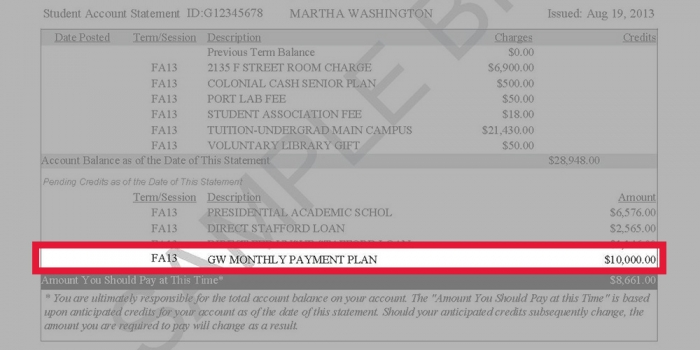 Image highlighting where the GW Monthly Payment Plan credit listed on a GW tuition statement