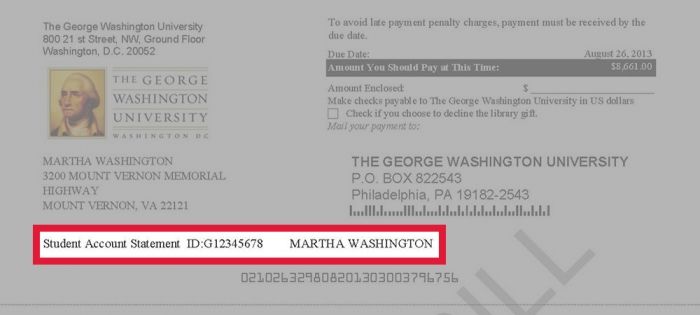 Image highlighting the account holder name & GWID on a GW tuition statement