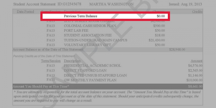 Image highlighting the previous semester's balance on a GW tuition statement
