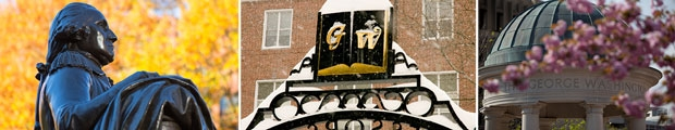 Photo collage of the University Yard statue of George, snow on the Professor's Gates, & Kogan Plaza in the spring